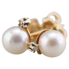 Cultured Pearl and Diamond Stud Earrings