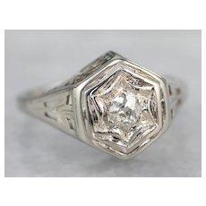 Stunning Art Deco Old Mine Cut Diamond Ring