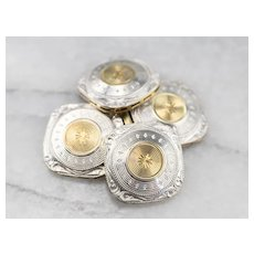 Retro Two Tone Etched Cufflinks