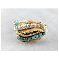 Turquoise and Diamond Statement Ring
