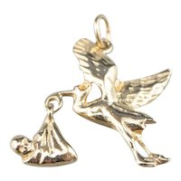 The Stork is Here, Vintage Stork Delivery Charm or Pendant