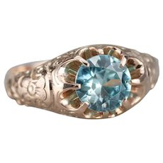 Upcycled Blue Zircon Unisex Solitaire Ring