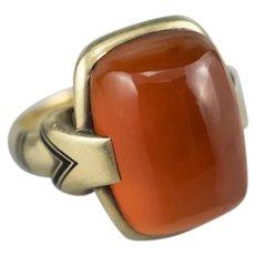 Art Deco Egyptian Revival Carnelian Enamel Ring