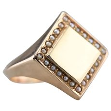 Upcycled Ladies Seed Pearl Signet Ring
