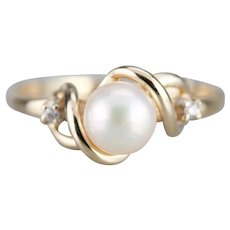 Vintage Cultured Pearl and Diamond Ring