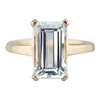Elongated Aquamarine Solitaire Ring