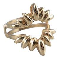 Scalloped 14 Karat Gold Enhancer Ring