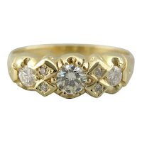 Vintage English Made 18K Gold and Diamond Band, Geometric Style