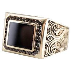 Men's Black Onyx and Black Diamond Statement Ring