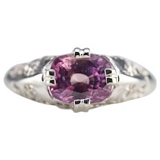 Floral Filigree Pink Ceylon Sapphire Solitaire Ring