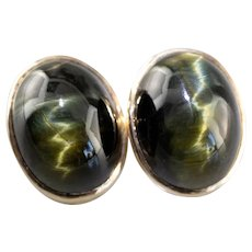 Vintage Tiger's Eye Cabochon Clip On Earrings