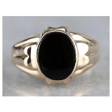 Retro Black Onyx Solitaire Ring