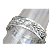 Etched 925 Sterling Silver Floral Bracelet