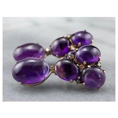 Amethyst Cabochon and Diamond Drop Earrings