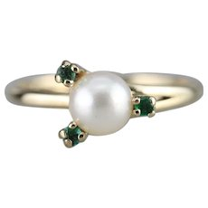 Lovely Cultured Pearl and Emerald Ring