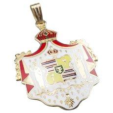 14 Karat Gold and Enamel Hawaiian Coat of Arms Pendant