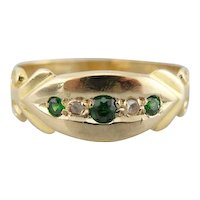 Demantoid Garnets and Rose Cut Diamonds Ladies Band