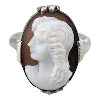 Vintage Sardonyx Cameo Filigree Ring