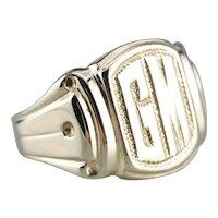 """Men's Vintage """"GM"""" Monogram Signet Ring"""