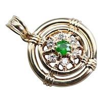 Nautical Style Demantoid Garnet and Diamond Pendant