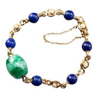 Vintage Jade Cabochon Lapis and Cultured Pearl Bead Bracelet