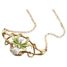 Upcycled Art Nouveau Enamel and Natural Baroque Pearl Necklace