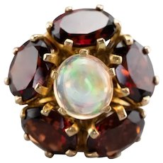 Stunning Opal and Garnet Cocktail Ring