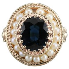 Sapphire and Cultured Pearl Halo Ring