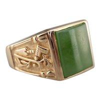 Men's Masonic Jade Cabochon Ring