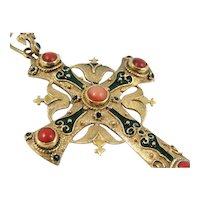 Stunning Italian Coral and Enamel Ornate Cross