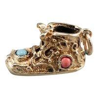 Vintage Glass Filigree Shoe Charm