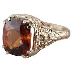 Ornate Filigree Hessonite Garnet Cocktail Ring