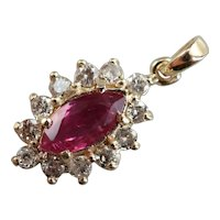 Marquise Ruby and Diamond Halo Pendant