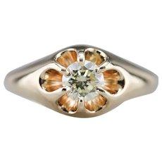 Unisex Upcycled Diamond Belcher Ring
