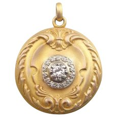 14K Ornate Gold Locket with Diamond Center, Brushed Finish
