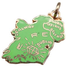 Green Enamel Ireland Map Charm