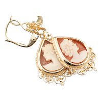 Lovely Teardrop Cameo Drop Earrings