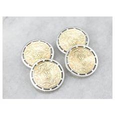 Vintage Etched Two Tone 14 Karat Gold Cufflinks