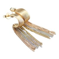 Modernist Hoop Tassel Drop Earrings