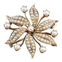 Victorian Cultured Seed Pearl and Diamond Floral Brooch Pendant