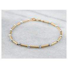 14K Two Tone Bead Bracelet