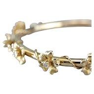 Vintage Diamond and 14 Karat Gold Floral Bangle Bracelet