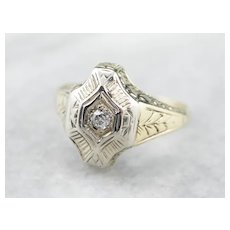 Engraved Old Mine Cut Diamond Solitaire Ring