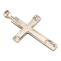 Retro Era Etched Cross Pendant