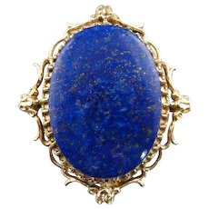 Gorgeous Starry Night, Vintage Lapis Brooch or Pendant