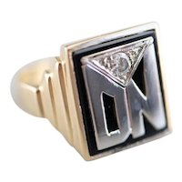 "Men's Onyx and Diamond Retro ""DN"" Signet Ring"