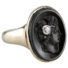 Vintage Diamond Sardonyx Cameo Ring