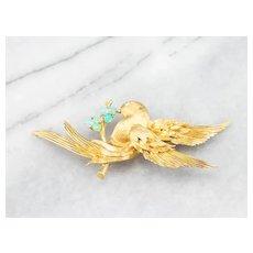 Stunning Diamond and Opal Bird Brooch