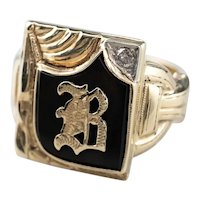 "Retro ""B"" Black Onyx Diamond Signet Ring"