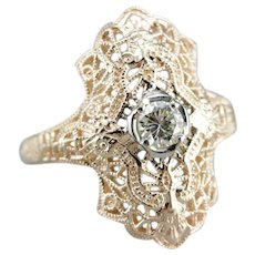 Solitaire Diamond Upcycled Filigree Ring